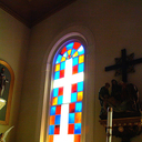 Leaded Glass panels along entire outer walls of church